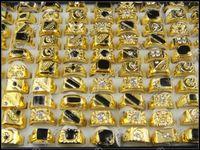 Wholesale Cheap Black Wedding Bands - Hot Selling 50pcs lot Black Enamel Fashion Men Ring Cheap Price Wholesale Bulk Mix Design Mixed Size Gold Plated Crystal Rhinestone Rings