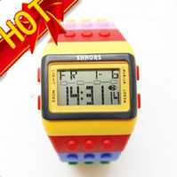 Wholesale Candy Night - 5pcs lot Classic Plastic Lego SHHORS Digital Watch Candy Night Light Waterproof Unisex Watches CN