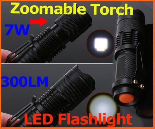 Libre DHL, Mini LED Torche 7W 300LM CREE Q5 LED Lampe de Poche Réglable Focus Zoom Lampe