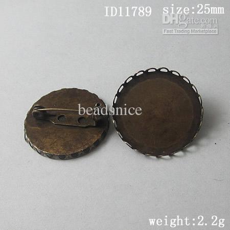 보석 만들기위한 25mm 둥근 cabochon 설정 브로치와 Beadsnice 황동 브로치 ID를 11789 만들기