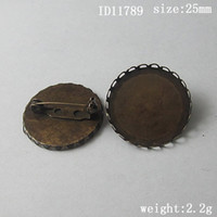 Wholesale Cabochon Brooch - Beadsnice brass brooch with 25 mm round cabochon setting brooch base for jewelry making ID 11789
