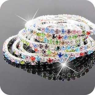 Pulseras de cristal de colores calientes de moda de una sola fila de mujeres bracele mejor regalo de navidad