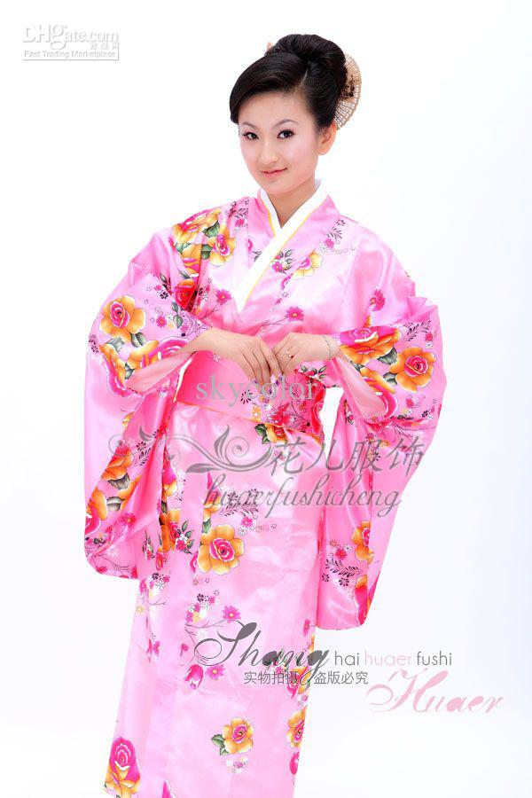 2018 New Junoesque Pink Silk Flower Yukata Japanese Haori