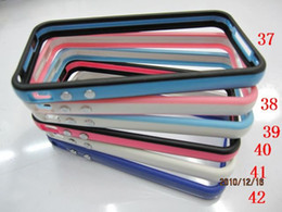 Wholesale 4g 4s Wholesale - 250pcs lots TPU Bumper Frame Case Cover With Metal Buttons for iPhone 4 4G 4S
