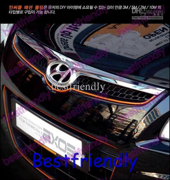 Оранжевый топ авто интерьер автомобиля DIY украшения литье отделка полосы яркий огонек линия 6 цветов 4 мм