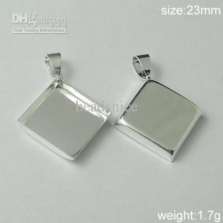 Smycken Hängsmycke Blankinställningar Mässing Passar 16x16mm Diamant Koppar eller Gunmetal Plating etc Lead-Safe Nickel-Free ID 5640