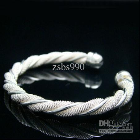 Hot New 925 Sterling Silver Charm BanglesBracelet Twisted Wire Mesh Fashion Girl Smycken Gratis frakt
