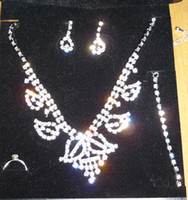 Wholesale Assorted Necklace Designs - Rhinestone Necklace Jewelry Set Crystal Earring Set Silver Necklace 60sets lot Assorted Designs
