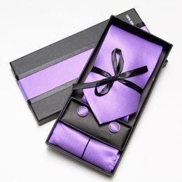 Wholesale ties hanky sets brown - Neck Tie Set Cufflinks Hanky Neckties retail purple Men's ties cuff links man tie sets