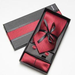 Wholesale necktie hanky cuff - Men's Ties sets Tie & Cufflinks & Hanky Neckties cufflinks red tie men's tie hanky cuff link