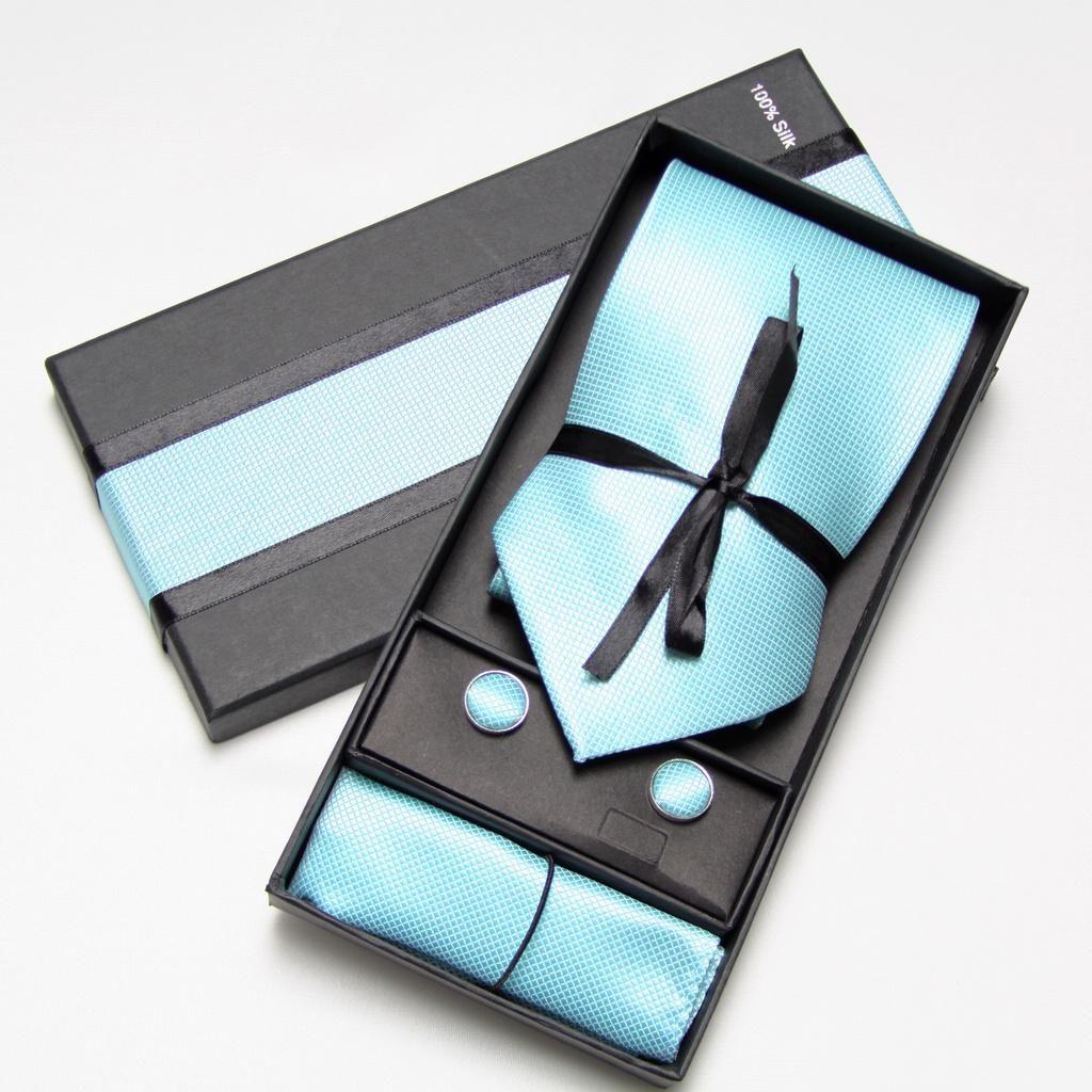 Krawatten-Set Manschettenknöpfe Hanky Krawatten Einzelhandel lila Herren Krawatten Manschettenknöpfe Mann Krawatte setzt