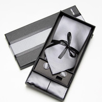 Wholesale Necktie Packaging - men ties set cufflinks hanky pocket square men's tie in box necktie packaging