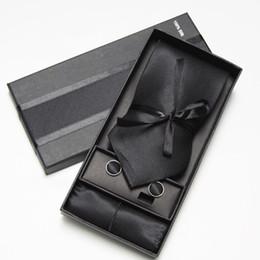 Wholesale Wholesale Necktie Hanky Sets - SOLID COLOR Neckties Men's Ties sets cufflinks tie set cuff button men's tie hanky set cuff link