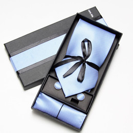 Wholesale Necktie Hanky Cuff - SOLID COLOR Neckties Men's Ties sets cufflinks tie set cuff button men's tie hanky set cuff link