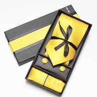 Wholesale necktie hanky cuff - Tie & Cufflinks & Hanky Neckties Men's Ties sets cufflinks solid color men's tie hanky cuff link
