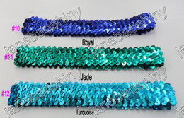 Wholesale Stretch Sequin For Headbands - free shipping mix color 100pcs 1.5'' sequin headbands for baby girl stretch sequin headband white