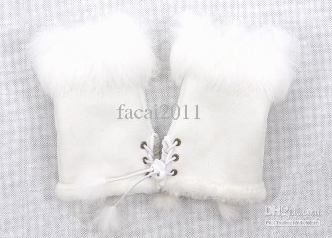 Chaude 2017 gants de fourrure de lapin, des gants d'hiver femme sans doigts, gant de poignet à la main, gants demi-doigts 1120