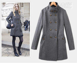 Wholesale xxl women wool coats - XS,S,M,L,XL,XXL New Euramerican Winter woman coat double-breasted overcoat women thicken woollen coat black grey