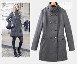 Wholesale Xxl Women Wool Coats - XS,S,M,L,XL,XXL New Euramerican Winter woman coat double-breasted overcoat women thicken woollen coat black grey
