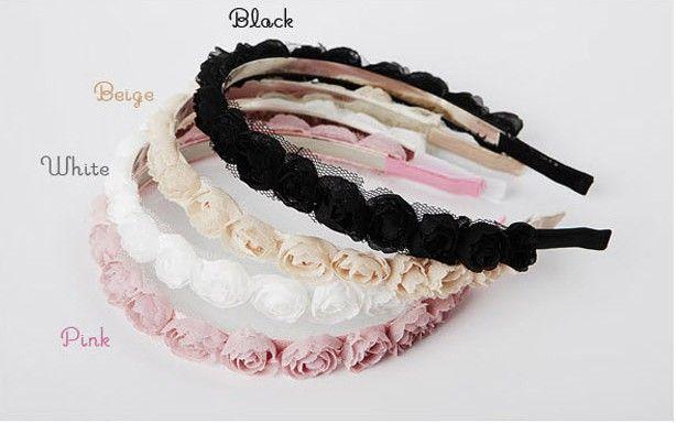 - Hot Sale Korean Fashion Hair Accessories Beautiful Lace Rose Flowers Headbands Hair Band