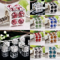 Wholesale Inlay Cube - Silver Plated,Mix Color Crystal Inlay Cube Cubic Dice European Big Hole Beads,Rhinestones Jewelry