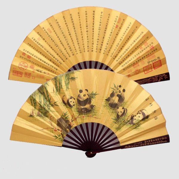 Pequeno Grande Chinese Bamboo Silk Tecido Mão Folding realizada Fans por Homens decorativas do casamento Favores Fan atacado /