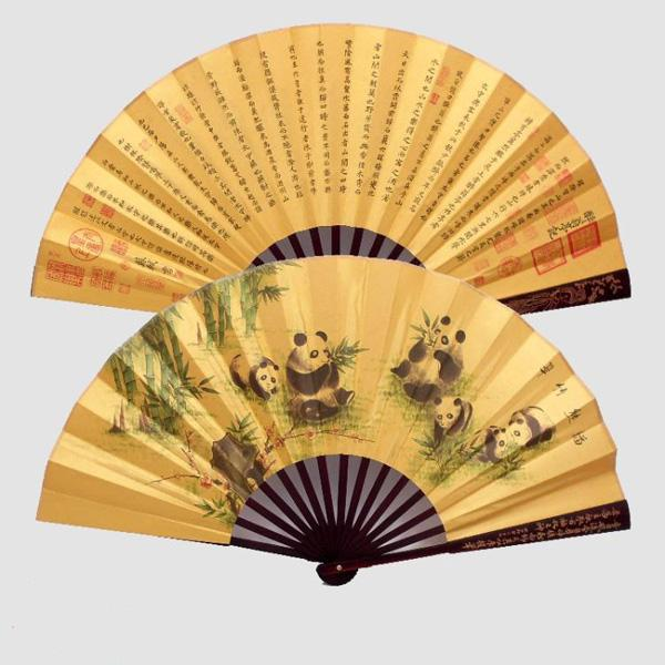 Small Large Chinese Bamboo Silk Fabric Folding Hand held Fans for Men Decorative Wedding Favors Fan wholesale