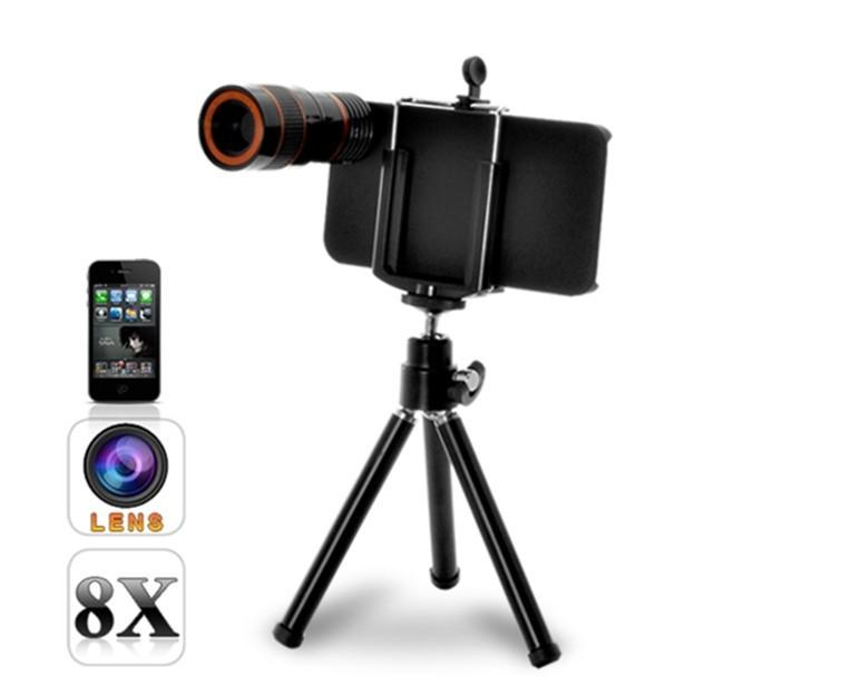 Telescope Camera Lens Tripod + Holder Stand For phone 4/4S cell phone 8x Optical Zoom 10pcs
