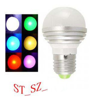 Wholesale E27 Led Remote Base - 4 Standard E27 GU10 MR16 B22 spiral base RGB LED Globe light bulb Lamp 86V-265V +Remote Control