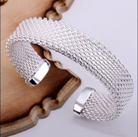 Wholesale 925 Mesh Bangle - Hot new fashion 925 sterling silver mesh bracelet charm fine jewelry gifts free shipping 10piece