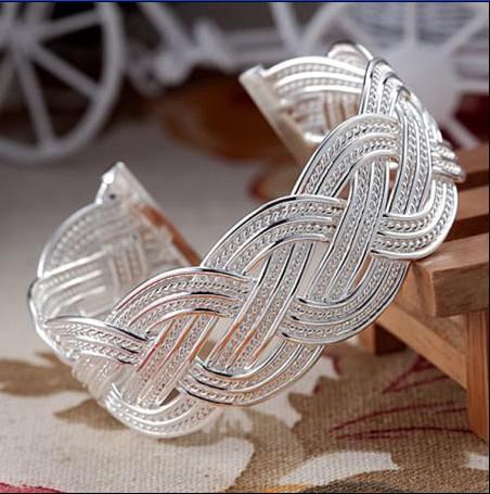 Il nuovo caldo placcato 925 braccialetti di fascino dell'argento sterlina ha intrecciato il regalo di Natale dei monili della maglia Trasporto libero