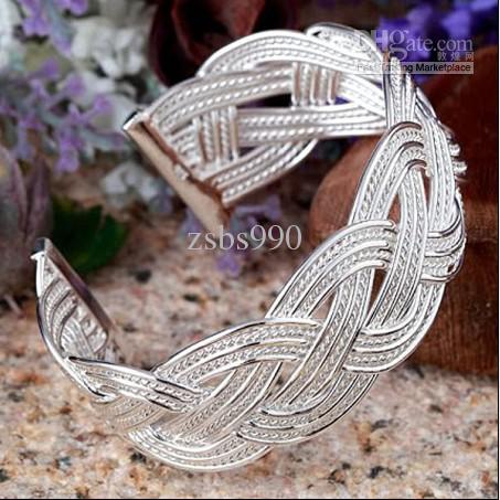 Hot New Plated 925 Sterling Silver Charm Bransoletki Woven Mesh Biżuteria Boże Narodzenie Darmowa Wysyłka