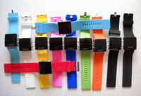 Wholesale Colorful Display Watch - Unisex Men's LED Digital Display Colorful Candy Mirror Watch Gel Ladys Student Electronic Watches