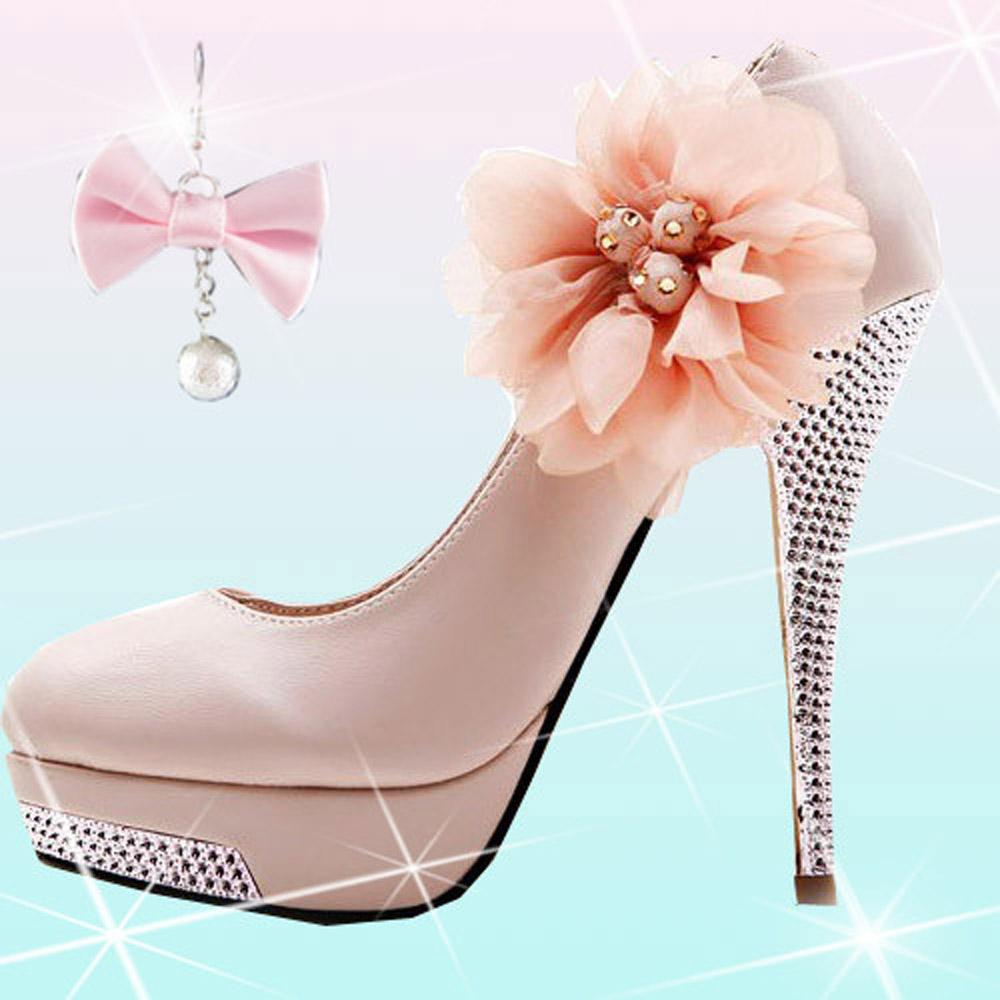 2015 New Style Women High Heel Shoes Ladies Sexy Shoes With Flower