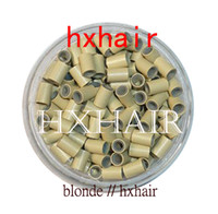 micro ring brown hair extensions achat en gros de-10000pcs 4.0mm Tube De Cuivre Avec Silicone / Micro Anneaux Liens Perles / Outils D'extension De Cheveux