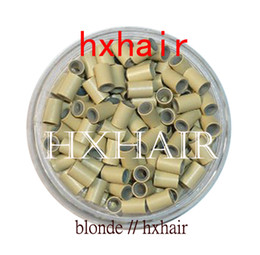 Wholesale Brown Micro Bead Hair Extensions - 10000pcs 4.0mm Copper Tube With Silicone   Micro Rings Links Beads   Hair Extension Tools
