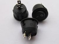 micro botón impermeable al por mayor-Interruptor oscilante KCD1 Circular Negro 2pin 6A 250V 10A 125V 12 pzas por lote