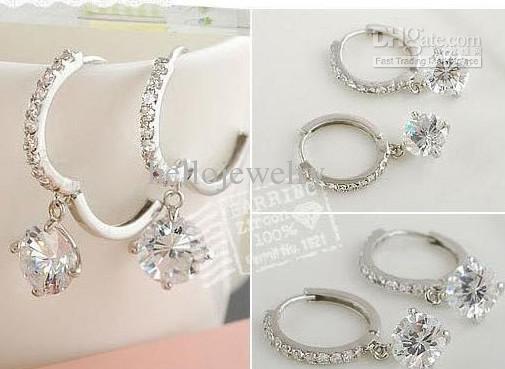 aretes de zircon pendiente aretes de argolla de circón de cristal de moda de alta calidad cuelgan los pendientes de gota