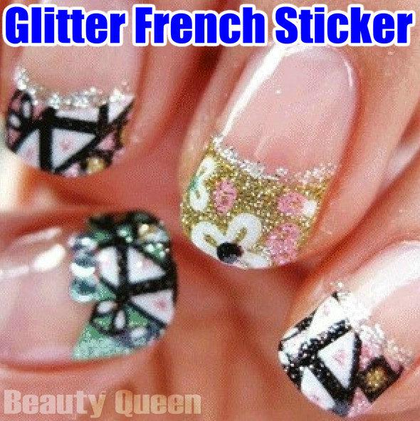 New Arrival! Mixed Korea Design 3D Glitter French Decal Nail Art Sticker Sparkle Tip Tips Wrap Wraps Decoration UV Acrylic High Quality