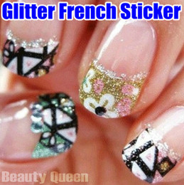 uv decals Canada - New Arrival! Mixed Korea Design 3D Glitter French Decal Nail Art Sticker Sparkle Tip Tips Wrap Wraps Decoration UV Acrylic High Quality