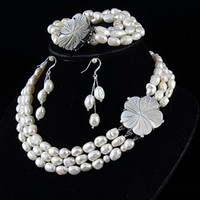 Wholesale Ivory Pearl Sets - Amazing!3rows jewelry set AA 7-8MM white Genuine freshwater pearl necklace bracelet earring A2388