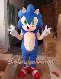 Wholesale Adult Mascot Halloween - adult size Sonic blue hedgehog mascot costume party outfit