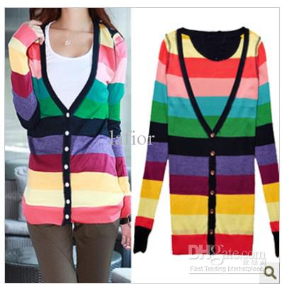 2018 Cardigan Sweaters Colorful Long Sleeved Swearter Lady's ...