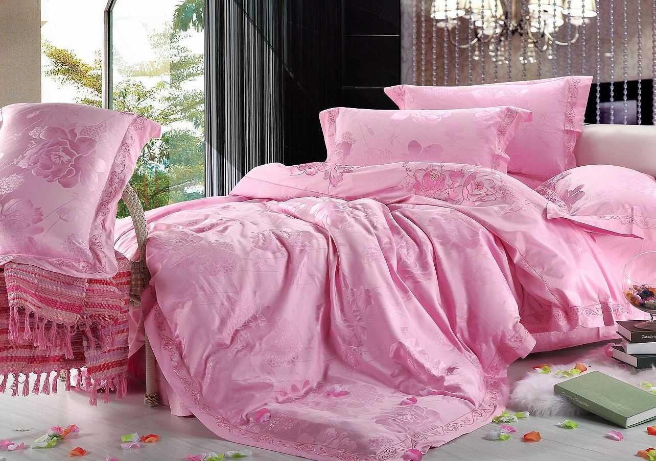 light pink flowers sateen fabric jacquard bedding full queen bed linen quilt duvet covers sets. Black Bedroom Furniture Sets. Home Design Ideas