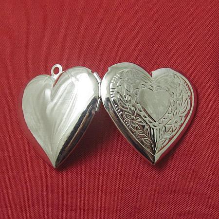 Beadsnice medallón colgante caja de álbum de latón en forma de corazón diámetro interior 21x16.5mm foto medallón colgante venta al por mayor ID 3354