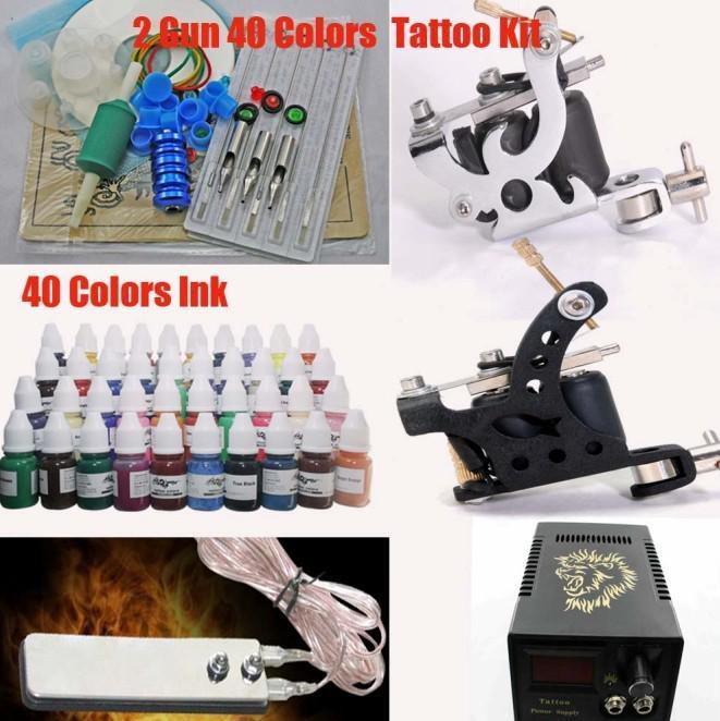 Kit de machine à tatouer 2 armes à feu 40 encres de couleur LED Aiguilles CD avec embouts d'alimentation pour l'art du tatouage