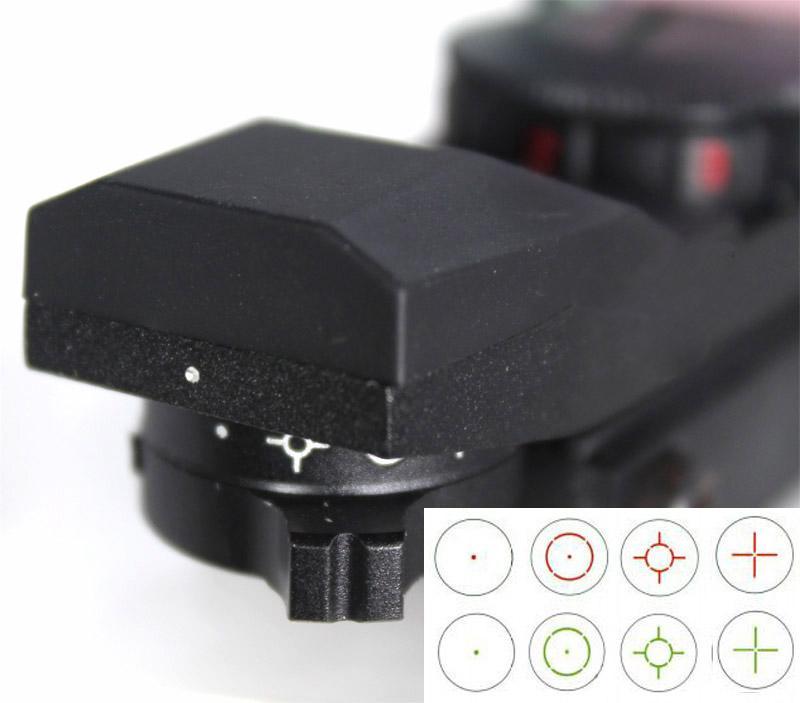 마운트와 33mm 금속 전술 4-Reticle 녹색 / 빨간색 점 레이저 시력 범위