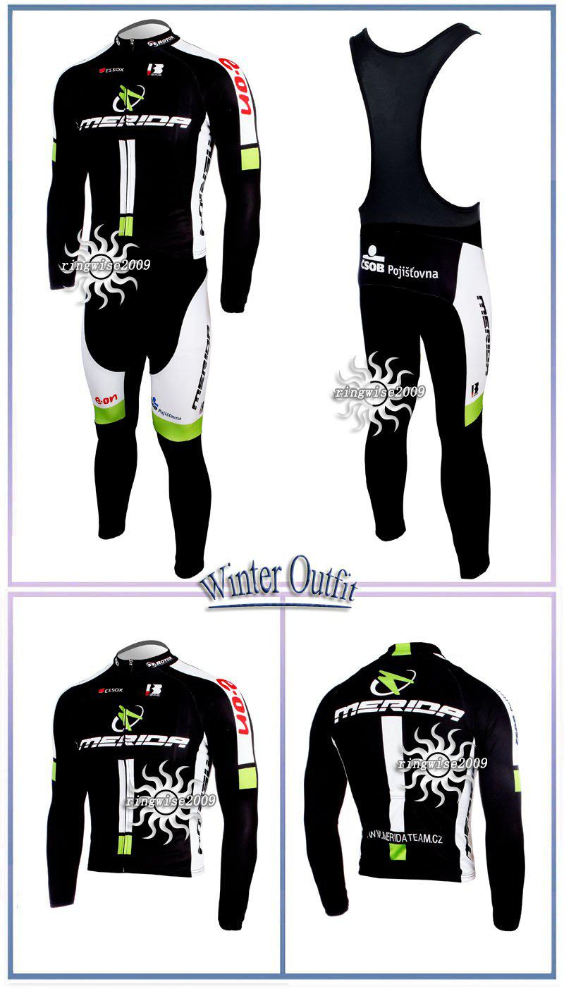 Vinter Fleece Thermal Cykling Long Jersey + Bib byxor 2011 Merida Black-Pick Storlek: XS-4XL M022