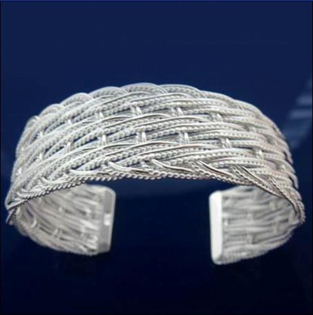 Горячий новый сетчатый 925 серебряный браслет открытие Рождественский подарок ювелирные изделия бесплатная доставка 10 шт.