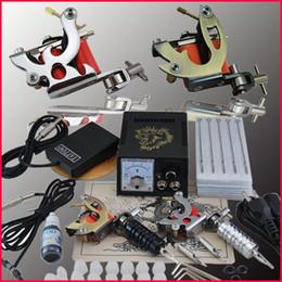 Wholesale Popular Tattoos - Tattoo Kit 2 Popular Machine Gun Power Supply 50 Needle Black Ink 3 4OZ 4 steel Tips